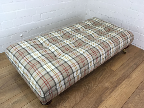 Hand Made Bespoke Footstool -Berwick Plaid  Autumn